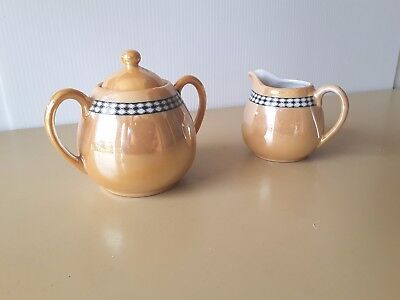 PORCELAIN LIDDED SUGAR POT MILK CREAMER JUG  lustre pattern HIGH TEA