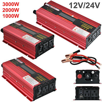 Car Power Inverter 600 1000 2000W LED Converter LCD Display DC12V/24V to AC110V