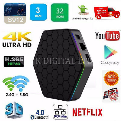 T95Z Plus S912 3GB/32GB Android 7 TV Box Octa Core Dual WIFI 4K  UK SELLER