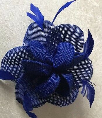 1105d508d2 Small Royal Blue Flower Fascinator Hair Clip Ladies Race Day wedding  Accessories