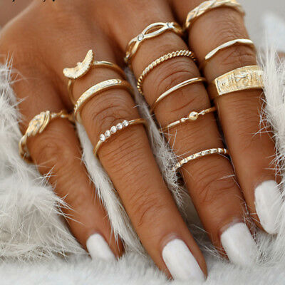 12pcs/set Boho Women Stack Above Knuckle Ring Midi Finger Tip Rings Jewelry Gift