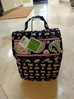 Vera Bradley NWT  Pink Elephants    RETIRED  out to lunch tote   bag