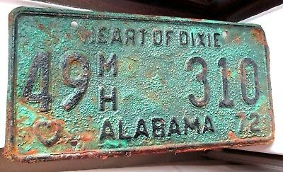 American license plate. Vintage 1972 Alabama number plate - Heart Of Dixie !!!