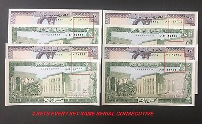 Lebanon 5 10 livre , lira 1986 ,  4 SETS  same serial 95322/3/4/5 pick#62-63 UNC