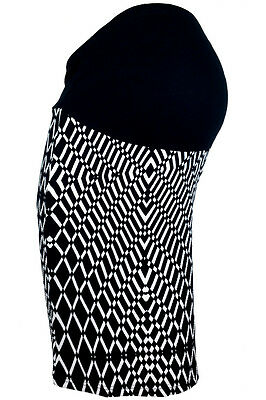 MATERNITY SKIRT Exclusive Black White Patterned Pencil Size 8 14 16 Clothes