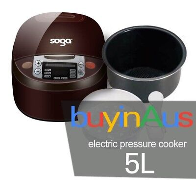 New SOGA 5L Electric Digital Slow Pressure Cooker Multi Functions 900W