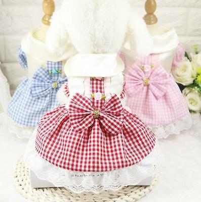 Cute Pet Puppy Dog Dresses Lace Cat Chihuahua Clothes Party Princess Skirt XS-XL