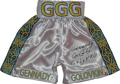 """Gennady """"GGG"""" Golovkin Signed White Boxing Trunks - Autographed Boxing Robes"""