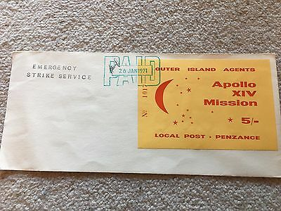 Gb 1971 Postal Strike Outer Island Agents Apollo Xiv Mission Penzance 5/- Paid