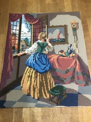Completed Tapestry Needlepoint Dutch Interior Village Scene Window Vintage Old