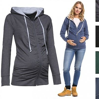 Happy Mama. Women's Maternity Hoodie Sweatshirt Zip Front Long Sleeves. 263p