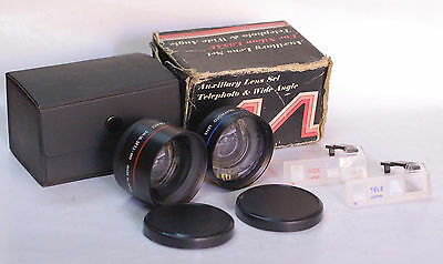 AUXILIARY LENS SET TELEPHOTO & WIDE ANGLE w/ Finder & Box For Nikon L35AF