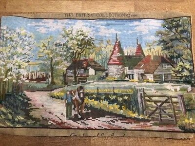 Completed Tapestry Needlepoint Old English Garden Of England Kent Country Scene