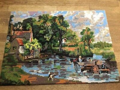 Completed Tapestry Needlepoint Old English Haywain John Constable Tulleys Countr