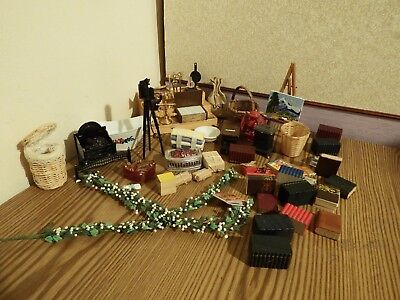 50 dolls house assortment job lot of household items shop/house 1.12th