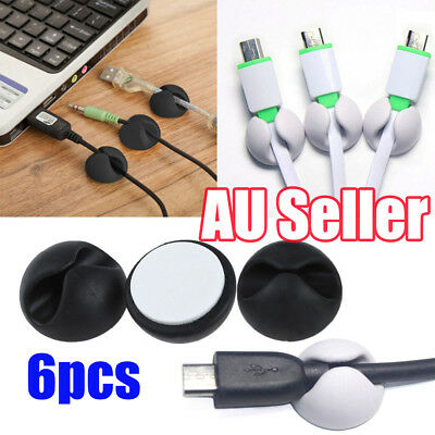 6pcs Cable Clips Tidy Cord Lead Organiser USB Charger Holder Drop Black or White