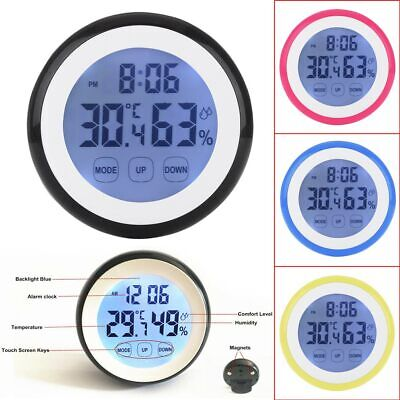 Indoor Digital LCD Thermometer Hygrometer Temperature Humidity Meter Time Clock