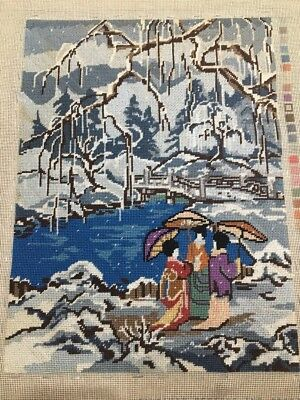 Completed Tapestry Needlepoint Old Oriental Bridge River Scene Rare Vintage Piec