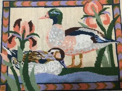Completed Tapestry Needlepoint Egyptian Ducks Like Mallards Suit Old Cottage Etc