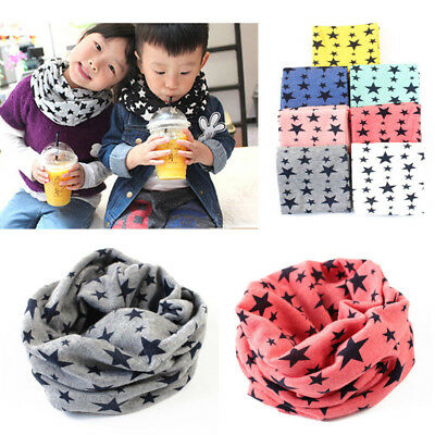 Winter Kids Baby Girl Boy Cotton Snood Neck Scarf Neckerchief Stars Print Collar