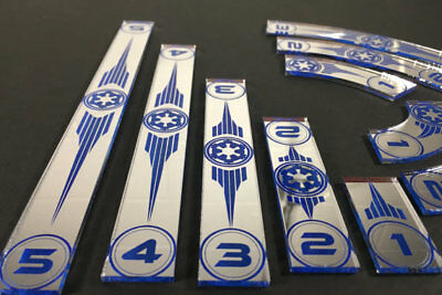 x wing movement templates imperial silver mirrored with blue inlays