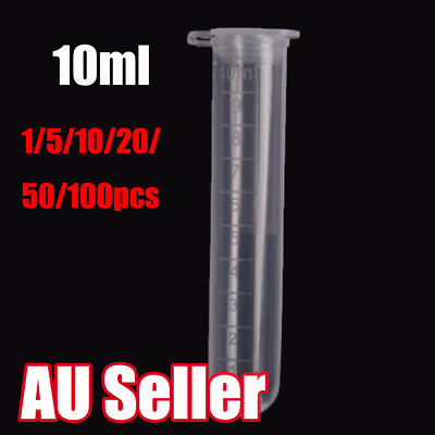 1-100pcs 10ml Plastic Centrifuge Lab Test Tube Vial Sample Container with Cap BO