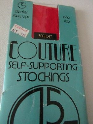 Vintage Couture England Self-Supporting Stockings in Scarlet - One Size