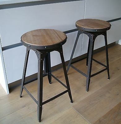 Café style adjustable Stool artisan industrial Aged Rust colour