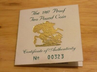 1987 Gold Proof Two Pound Coin COA  ONLY