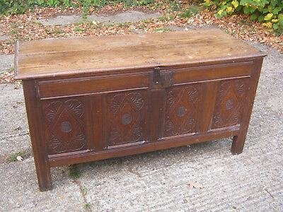 Antique  Oak Coffer Vintage Chest