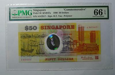 PMG66 EPQ 1990 Singapore $50 Commemorative Polymer note