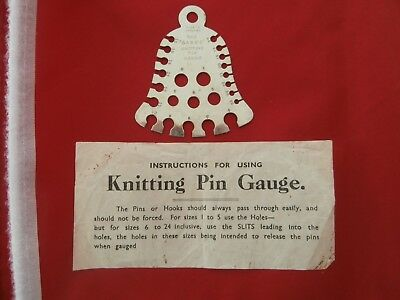 "Vintage ""SABRE"" Knitting Needle / Pin Bell Gauge. With Original Instructions"