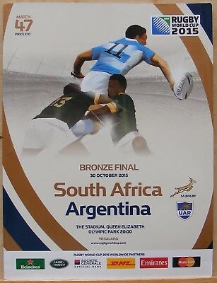 South Africa V Argentina. October 2015. (Programme 47) Rwc Bronze Final.