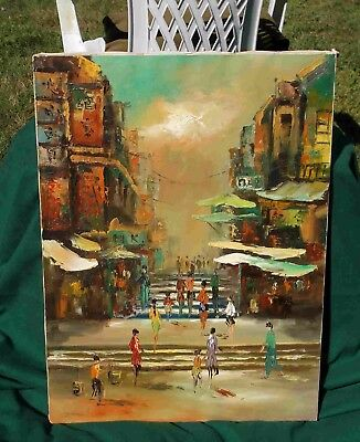 SALE Vintage oil painting Oriental Old Hong Kong cityscape signed origin