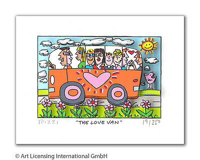 "Original James Rizzi 3 D Bild "" The love van "" NEU mit original Zertifikat"