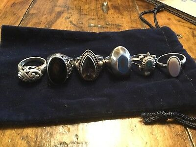 STERLING SILVER 925 RINGS LOT - Useable Wearable 46grams