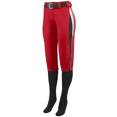(Girls Large, Red with Black/White Side Pipping) - Girls/Ladies Softball Low