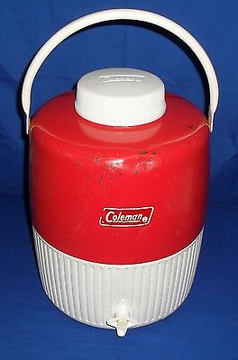 Coleman Red & White Metal & Plastic Water Cooler Thermos Jug 2 Gal Made in USA!
