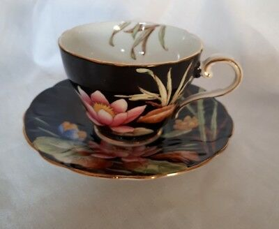 AYNSLEY TEA CUP AND SAUCER GLOSSY BLACK HP PINK WATER LILY GILT TRIM c1930 B4155
