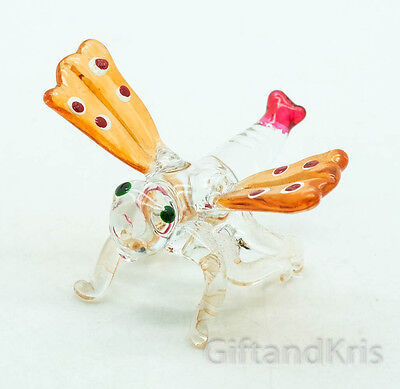 Figurine Animal Hand Blown Glass Insect Dragonfly - 016
