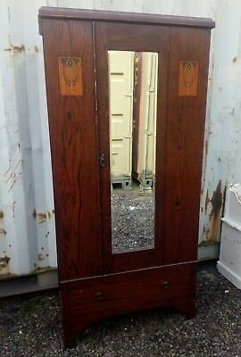 Edwardian antique inlaid mahogany mirrored wardrobe