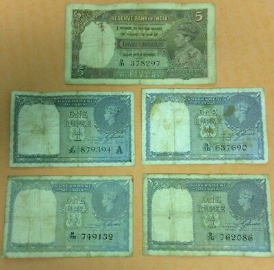 Nine Rupees From India 1x 5 Rupee & 4x 1 Rupee Notes