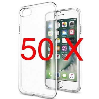 50 X Apple Iphone 8 Crystal Clear Silicone Tpu Cases Joblot Bulk Wholesale