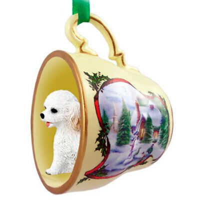 Cockapoo Christmas Holiday Teacup Ornament Figurine White