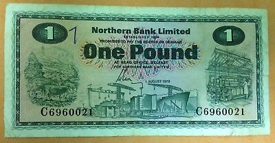 Extremely Rare Northern Bank One Pound Note 1st Aug 1978