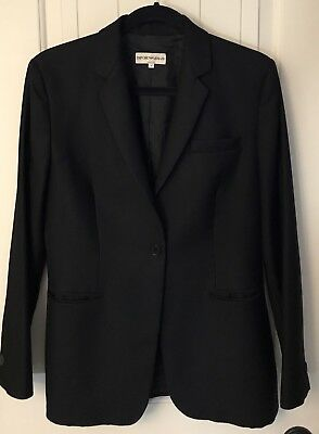 Womens Armani Sleek Black Wool Blazer Size 8