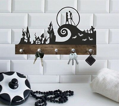 Wood Hanger Nightmare before christmas gifts/Jack and sally wedding gifts