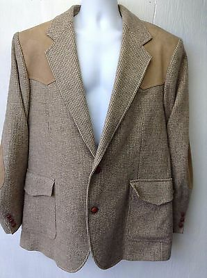 VTG PENDLETON Men's Blazer Western Style Leather Shoulders & Elbow Pads Sz 44 L
