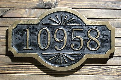 Carved Address Sign Antique Brass Finished Double Arch Custom Wood Plaque