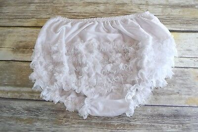 Vtg 5 Row Frilly 100% Nylon WHITE Granny Panty, Bloomers, Petitpants. XL